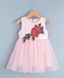 Pre Order - Tulip Rose Flower Patch Work Tutu Dress - Pink