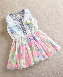 Pre Order - Tulip Stylish Lace Flower Vest Dress - Blue