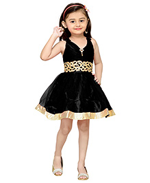 Adiva Sleeveless Party Wear Frock Floral Appliques - Black