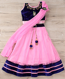 Aarika Embroidered Choli With Lehenga & Dupatta Set - Pink