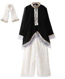 Aarika Embroidered Kurta With Palazzo & Dupatta Set - Black & White