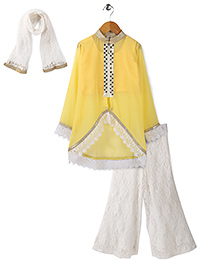Aarika Embroidered Kurta With Palazzo & Dupatta Set - Yellow & White