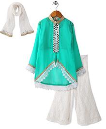 Aarika Embroidered Kurta With Palazzo & Dupatta Set - Green & White