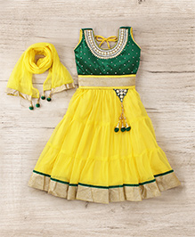 Aarika Embroidered Top With Lehenga & Dupatta Set - Yellow & Green