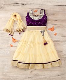 Aarika Embroidered Top With Lehenga & Dupatta Set - Purple & Butter