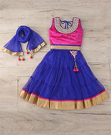 Aarika Embroidered Top With Lehenga & Dupatta Set - Pink & Blue