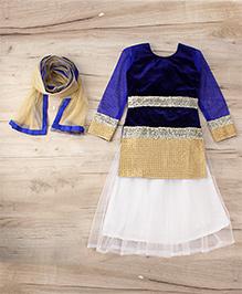 Aarika Embroidered Top With Lehenga & Dupatta Set - Blue & White