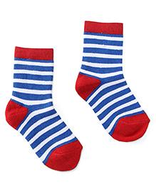 Cute Walk by Babyhug Socks Stripes Design - Red Blue