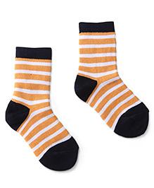 Cute Walk by Babyhug Socks Stripes Design - Orange Black