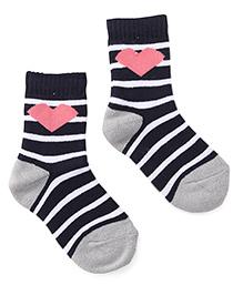 Cute Walk by Babyhug Socks Hearts Design - Navy Blue