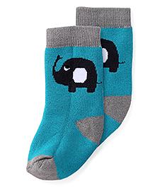 Cute Walk by Babyhug Anti Bacterial Socks Elephant Design - Grey And Teal Green