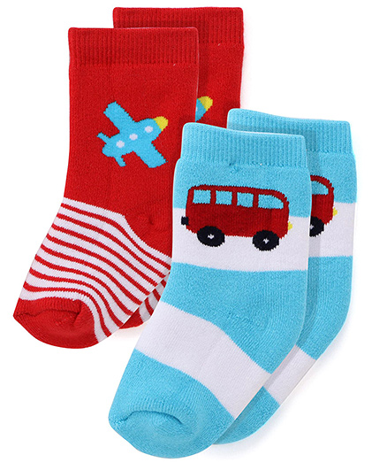 Cute Walk by Babyhug Anti Bacterial Socks Aeroplane And Bus Design Set of 2 - Blue And Red