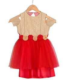 Varsha Showering Trends Off Shoulder Rose Design Flowers Dress - Red & Golden