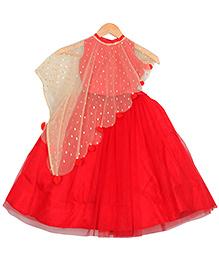 Varsha Showering Trends Trendy Slant Cut Cape With Top & Skirt Set - Red & Golden