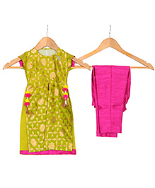 Varsha Showering Trends Brocade Silk Side Cut Top With Pom Pom Latkans & Bottom Set - Green & Pink