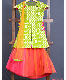 Varsha Showering Trends Brocade Silk Side Cut Top With Pom Pom Latkans & Ghagra Set - Peach & Red