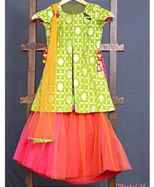Varsha Showering Trends Brocade Silk Side Cut Top With Pom Pom Latkans & Ghagra Set - Peach & Red