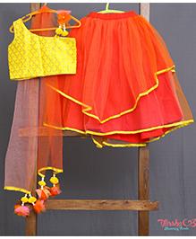 Varsha Showering Trends Brocade Crop Top With Flower On Left Side Lehenga Set - Red & Yellow
