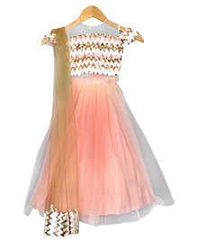 Varsha Showering Trends Cut Sleeves Sequence Top With Lehenga Set - Peach & Golden
