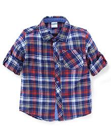 Babyhug Full Sleeves Check Shirt - Red Blue