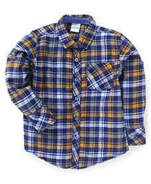 Babyhug Full Sleeves Check Shirt - Yellow Blue