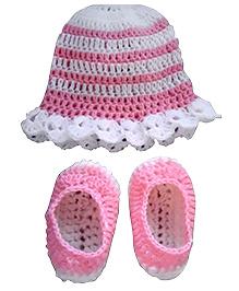 Knits & Knots Princess Cap & Booties - Pink & White