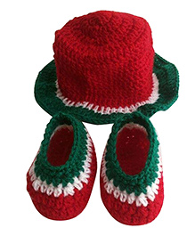 Knits & Knots Watermelon Cap & Booties - Red & White