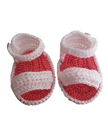 Knits & Knots Booties With Strap - Peach & White