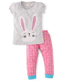 Tiny Bee Bunny Print Girls Tee & Pyjama Set - Grey Melange & Hot Pink