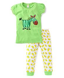 Tiny Bee Girls Tee & Pyjama Set - Green & Off White