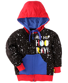 Tiny Bee Printed Hooded Jackets - Black & Red