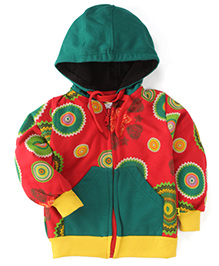 Tiny Bee Printed Hooded Jackets - Red & Green