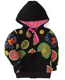 Tiny Bee Printed Hooded Jackets - Black