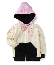 Tiny Bee Printed Hooded Jackets - Black & Pink