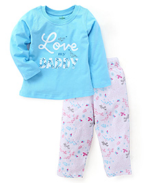 Babyhug Full Sleeves Printed Top And Pajama - Blue White