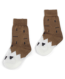 Model Ankle Length Warm Socks - Brown & White