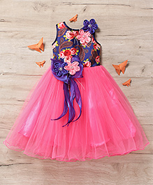 M'Princess Elegant Flower Print Party Gown - Pink
