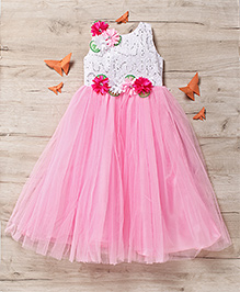 M'Princess Front Flower Print Party Gown - Pink