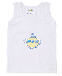 Babyhug Sleeveless Vest Submarine Print - White