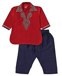 Ethnik's Neu-Ron Full Sleeves Embroidered Kurta And Pajama Set - Maroon Navy