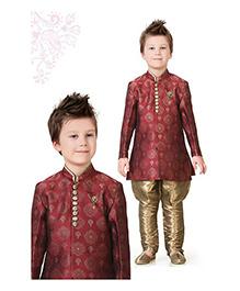Ethnik's Neu-Ron Kurta Pyjama Set - Maroon Brown