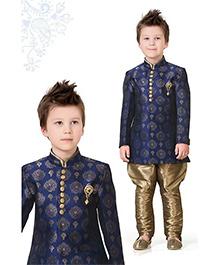 Ethnik's Neu-Ron Kurta Pyjama Set - Blue Brown