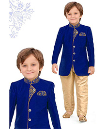 Ethnik's Neu-Ron Kurta Pyjama Set - Blue Gold