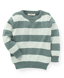Fox Baby Full Sleeves Striped Pullover Sweaters - Grey & Green
