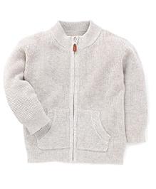Fox Baby Full Sleeves Front Zipper Sweater - Grey