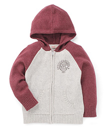 Fox Baby Full Sleeves Hooded Sweater - Grey & Maroon