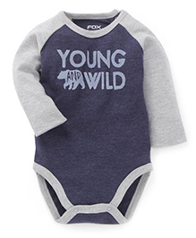 Fox Baby Full Sleeves Onesies Young And Wild Print - Navy Blue & Grey