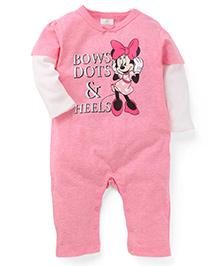 Fox Baby Full Sleeves Romper Minnie Print - Pink & Off White