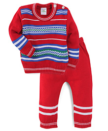 Babyhug Full Sleeves Striped Sweater And Pyjama - Red