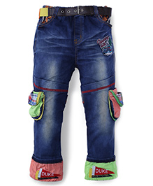 Noddy Original Clothing Full Lenght Stone Washed Patched Jeans - Blue